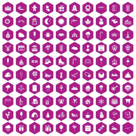 calendar icon: 100 childrens parties icons set in violet hexagon isolated vector illustration