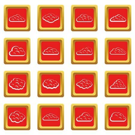 Wolkenpictogrammen in rode kleuren geïsoleerde vectorillustratie voor Web en om het even welk ontwerp worden geplaatst dat Stock Illustratie