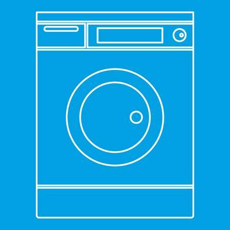 Washing machine icon blue outline style isolated vector illustration. Thin line sign Illustration