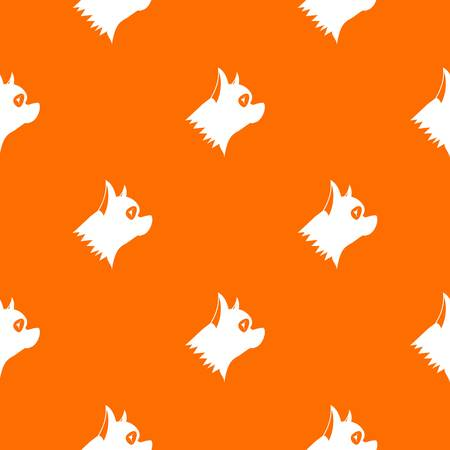Pinscher dog pattern repeat seamless in orange color for any design. Vector geometric illustration
