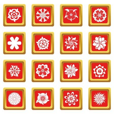 붉은 색에 다른 꽃 아이콘 설정 웹 및 모든 디자인을위한 격리 된 벡터 일러스트 레이 션