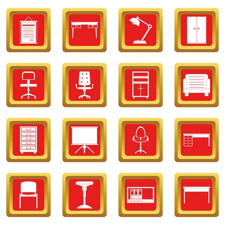 Office furniture icons set in red color isolated vector illustration for web and any design