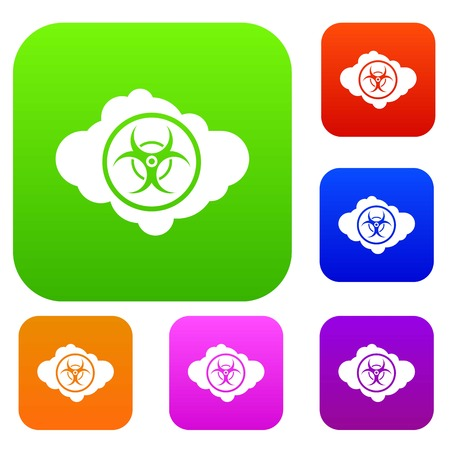 radioactive sign: Cloud with biohazard symbol set icon in different colors isolated vector illustration. Premium collection