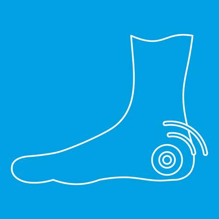 Foot heel icon blue outline style isolated vector illustration. Thin line sign Illustration