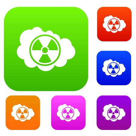 uranium: Cloud and radioactive sign set collection Illustration