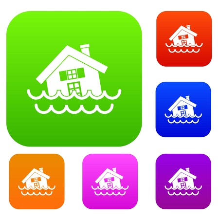 House sinking in a water set collection Illustration
