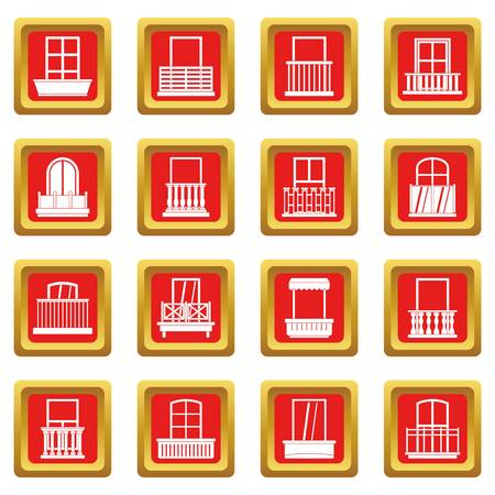 balcony: Window forms icons set red Illustration