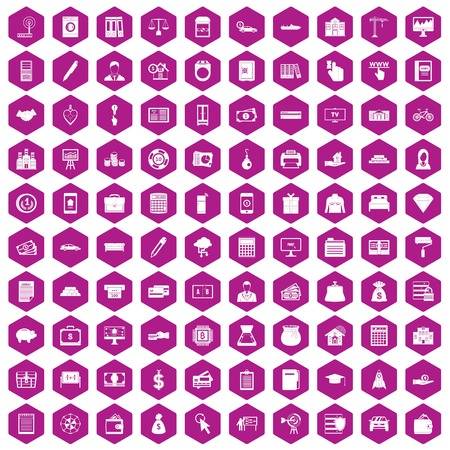 100 credit icons set in violet hexagon isolated vector illustration