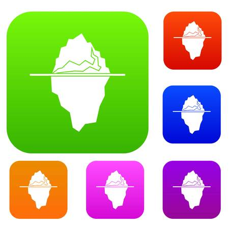 floe: Iceberg set icon in different colors isolated vector illustration. Premium collection