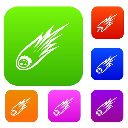 Falling meteor with long tail set icon in different colors isolated vector illustration. Premium collection