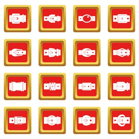 gold buckle: Belt buckles icons set in red color isolated vector illustration for web and any design