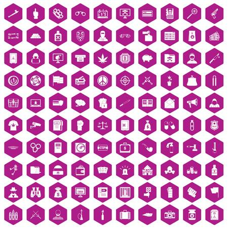 100 criminal offence icons hexagon violet