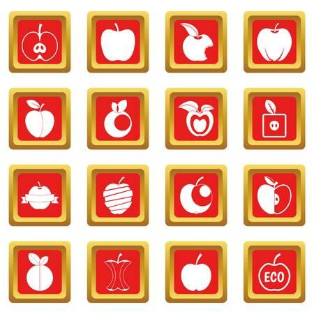 Apple icons set red Illustration