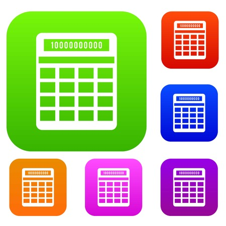 Calculator set icon in different colors isolated vector illustration. Premium collection Illustration