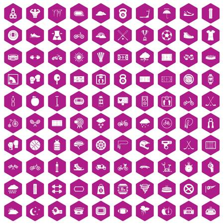 ice: 100 cycling icons set in violet hexagon isolated vector illustration