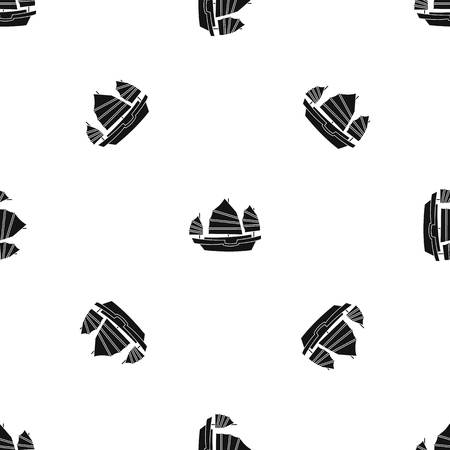 Junk boat pattern repeat seamless in black color for any design. Vector geometric illustration