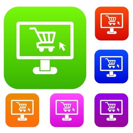 gift basket: Computer monitor with shopping cart set icon in different colors isolated vector illustration. Premium collection