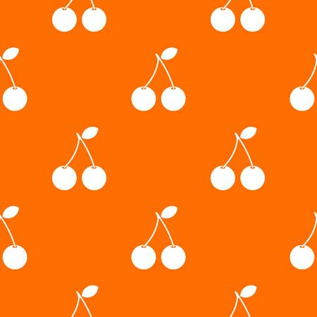 glace: Two ripe cherry berries pattern repeat seamless in orange color for any design. Vector geometric illustration