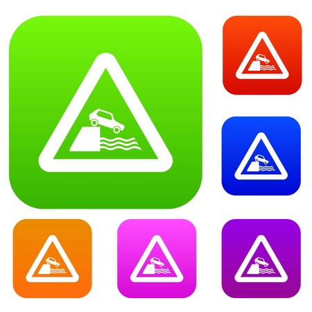 Riverbank traffic sign set icon in different colors isolated vector illustration. Premium collection
