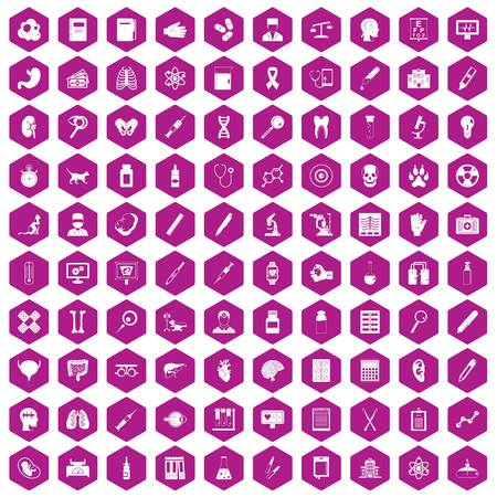 heart monitor: 100 diagnostic icons set in violet hexagon isolated vector illustration