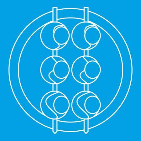 japanese ethnicity: Asian shashlik icon blue outline style isolated vector illustration. Thin line sign Illustration