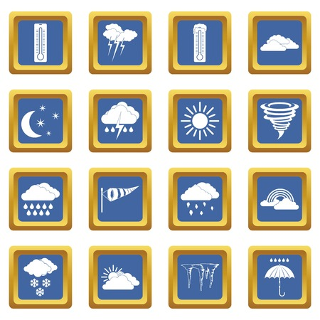 Weather set icons set in blue color isolated vector illustration for web and any design Çizim