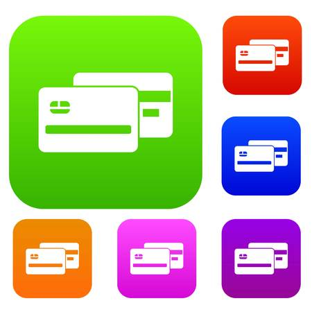 Credit card set icon in different colors isolated vector illustration. Premium collection