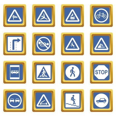 Road Sign Set icons set in blue color isolated vector illustration for web and any design Illustration