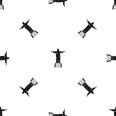The Christ the Redeemer statue pattern seamless black