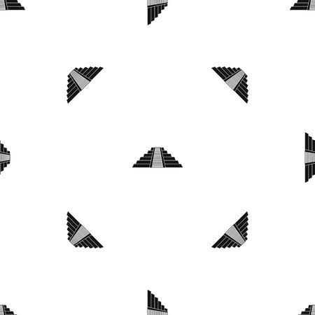 Ziggurat in Chichen Itza, Yucatan pattern repeat seamless in black color for any design. Vector geometric illustration