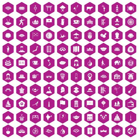 100 dish icons set in violet hexagon isolated vector illustration