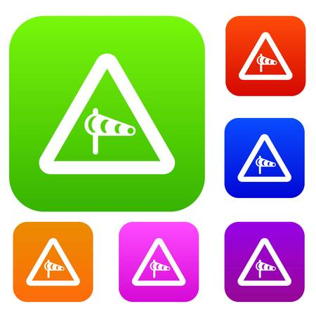 danger ahead: Sign warning about cross wind from the left set icon in different colors isolated vector illustration. Premium collection