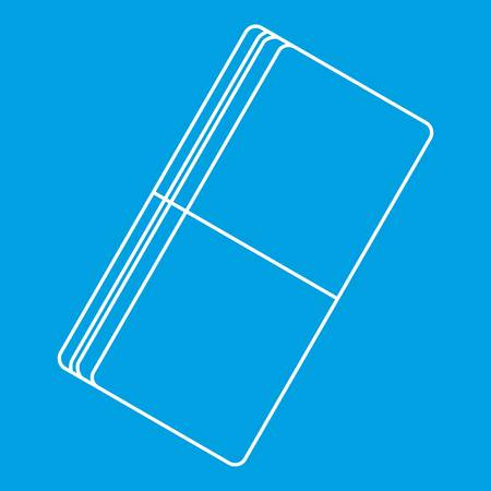 Eraser icon blue outline style isolated vector illustration. Thin line sign