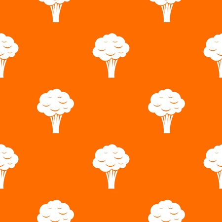 Broccoli pattern repeat seamless in orange color for any design. Vector geometric illustration