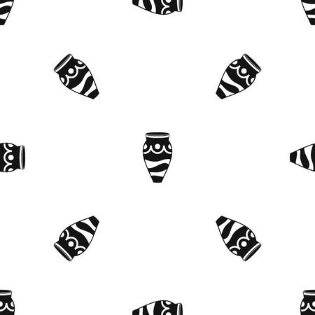 earthenware: Empty vase pattern repeat seamless in black color for any design. Vector geometric illustration