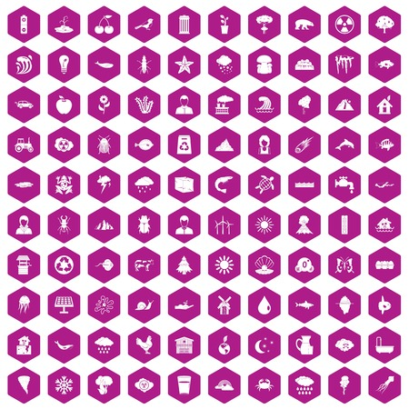 ice: 100 earth icons set in violet hexagon isolated vector illustration