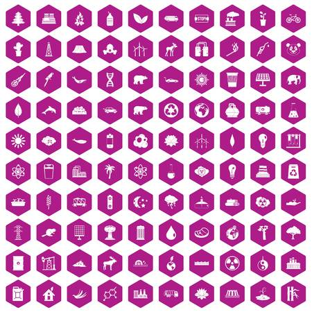 oil lamp: 100 eco icons set in violet hexagon isolated vector illustration
