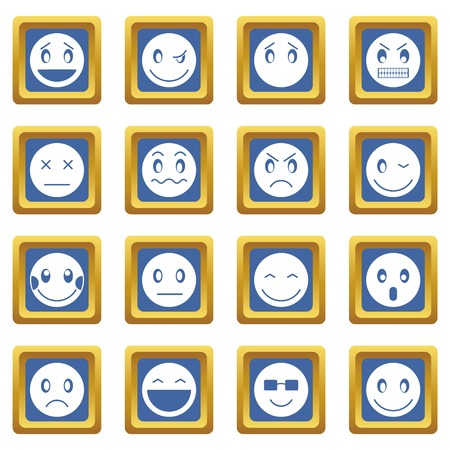 scheming: Emoticon icons set in blue color isolated vector illustration for web and any design Illustration
