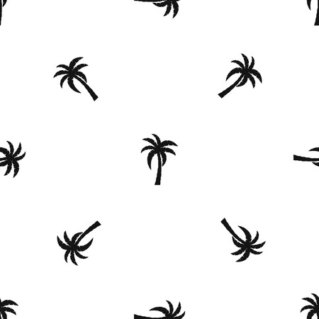 Palm pattern repeat seamless in black color for any design. Vector geometric illustration