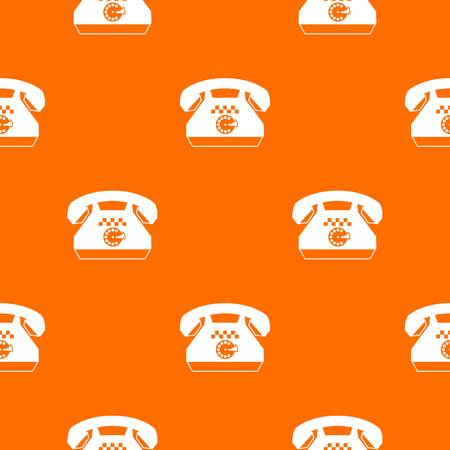Taxi phone pattern repeat seamless in orange color for any design. Vector geometric illustration
