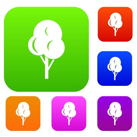 Autumn tree set icon in different colors isolated vector illustration. Premium collection