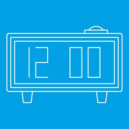 Alarm clock icon blue outline style isolated vector illustration. Thin line sign