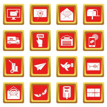 carrier pigeons: Poste service icons set in red color isolated vector illustration for web and any design