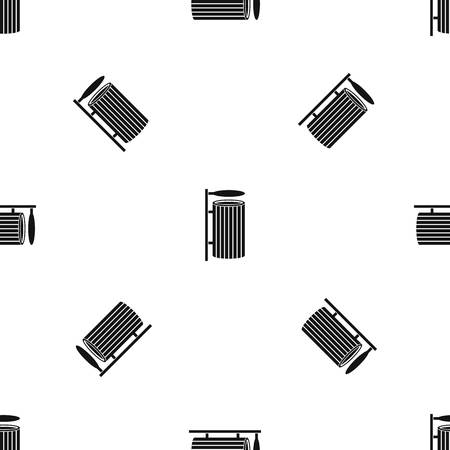 refuse: Public trash can pattern seamless black Illustration