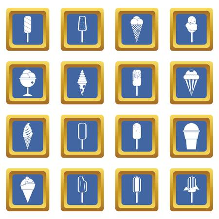 ice: Ice cream icons set blue