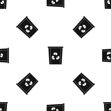segregate: Trash bin with recycle symbol pattern seamless black Illustration