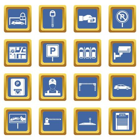 traffic warden: Car parking icons set in blue color isolated vector illustration for web and any design Illustration