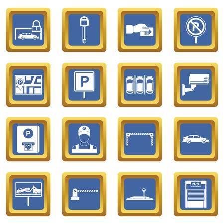 Le icone di parcheggio dell'automobile hanno messo nell'illustrazione di vettore isolata colore blu per il web e qualsiasi progettazione