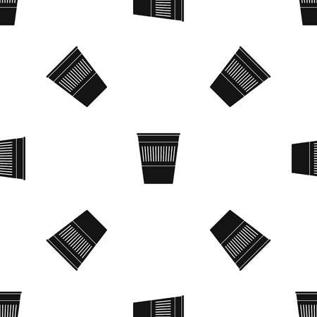refuse: Plastic office waste bin pattern seamless black Illustration