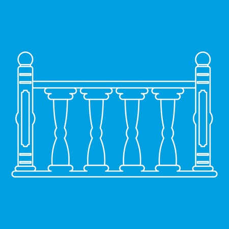 Balustrade icon blue outline style isolated vector illustration. Thin line sign